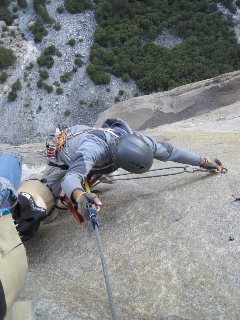 Aid climbing | photo courtesy of Mammoth Climbing Guides